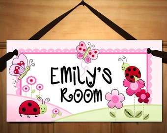 Pink Love Bugs Girls Bedroom Baby Nursery DOOR SIGN Wall Art DS0055