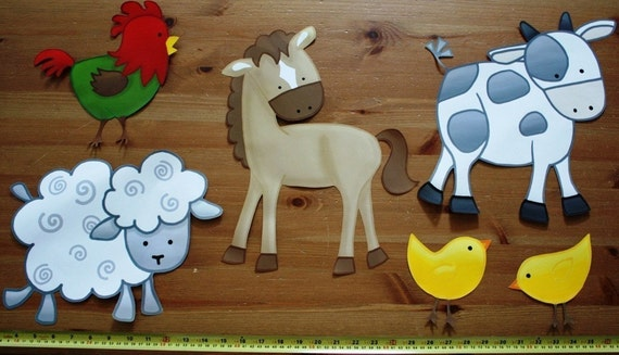 Fabric WALL DECALS Set of 6 Farm Animal Barnyard Children's Bedroom Playroom Baby Nursery Kids Wall Art Decals
