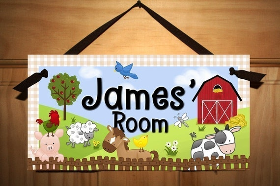 Farm Animal Childrens Bedroom Nursery Door Sign Wall Art