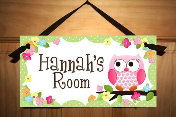 Door Sign Owls Love Flowers Girls Bedroom And Baby Nursery
