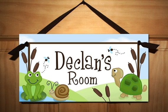 Pond Critters - Frogs, Snails and Turtle Tails Boys Bedroom Baby Nursery Kids DOOR SIGN Wall Art DS0320
