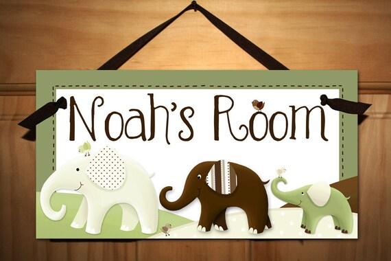Green and Brown Elephant Boy Girl Nursery Children's Bedroom DOOR SIGN Wall Art DS0357