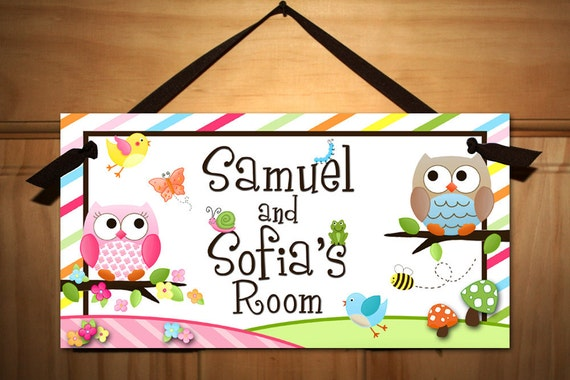 Twin Boy and Girl Owls Love Birdies and Stripes DOOR SIGN Nature Forest Bedroom and Baby Nursery Kids Bedroom Wall Art DS0136