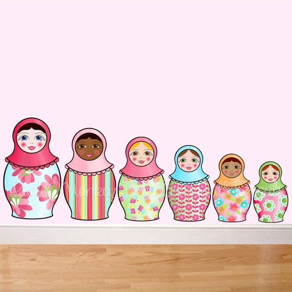 Fabric WALL DECALS Set of 6 Nesting Matryoshka Dolls Girl's Bedroom Playroom Baby Nursery Kids Wall Art Decals