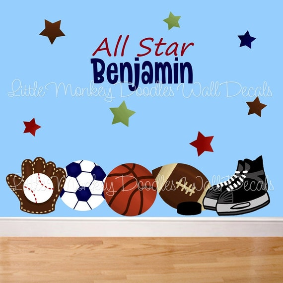 Fabric WALL DECALS All Star Sports PERSONALIZED with Name Football Baseball Hockey Boy's Bedroom Playroom Baby Nursery Kids Wall Art Decals