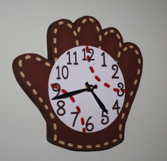Baseball Glove and Ball Wooden WALL CLOCK for Boys Bedroom Baby Nursery WC0089