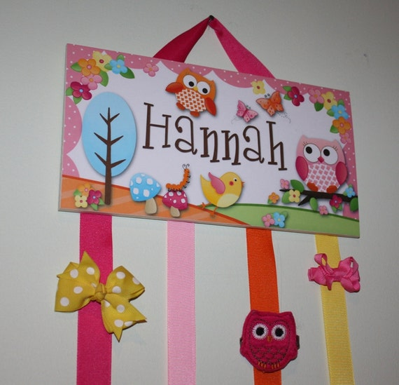 HAIR BOW HOLDER - Personalized Owls Love Birdies HairBow Holder - Bows and Clips Organizer - Girls Nature Personal Hair Bow & Clips Hb0015