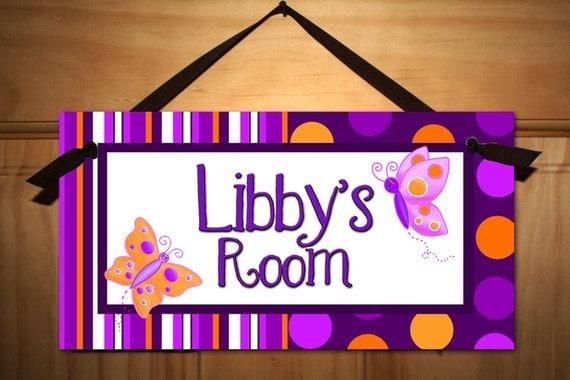 Purple and Orange Polka Dots Butterfly Girls Bedroom and Baby Nursery Kids Bedroom DOOR SIGN Wall Art DS0070