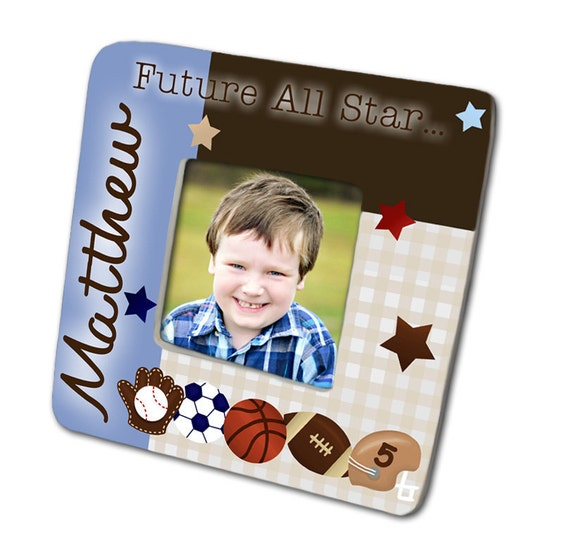 All Star Sports Football Soccer Basecall Boys Photo PICTURE FRAME for Kids Bedroom Baby Nursery PF0002