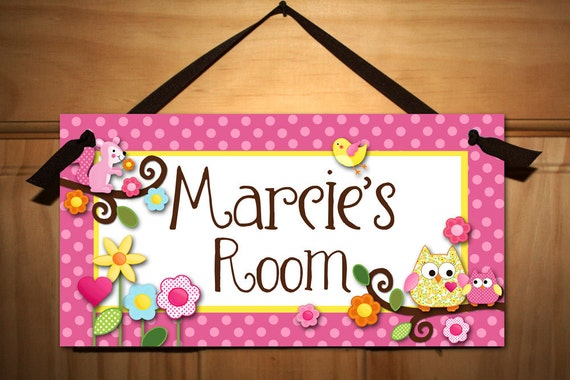 DOOR SIGN Happy Owls Girls Bedroom and Baby Nursery Kids Bedroom Wall Art DS0311