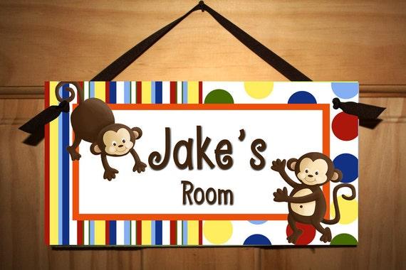123 Bright Monkey Boys Bedroom Baby Nursery DOOR SIGN Wall Art DS0248