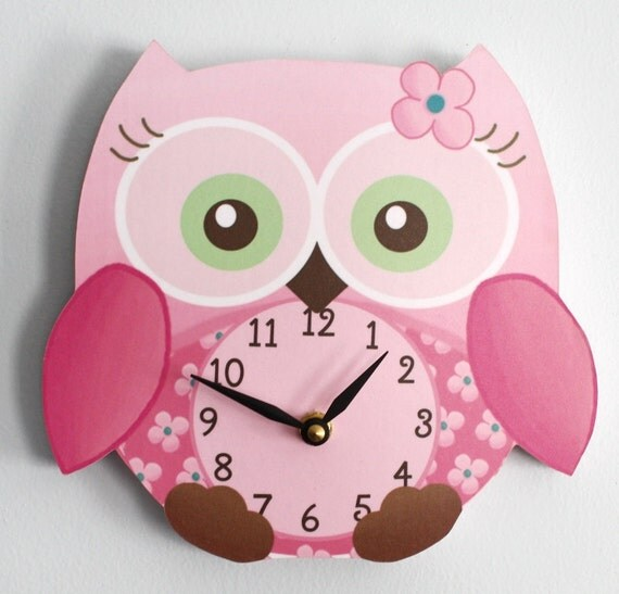 Sweet Little Owl Wooden WALL CLOCK for Girls Bedroom Baby Nursery WC0010