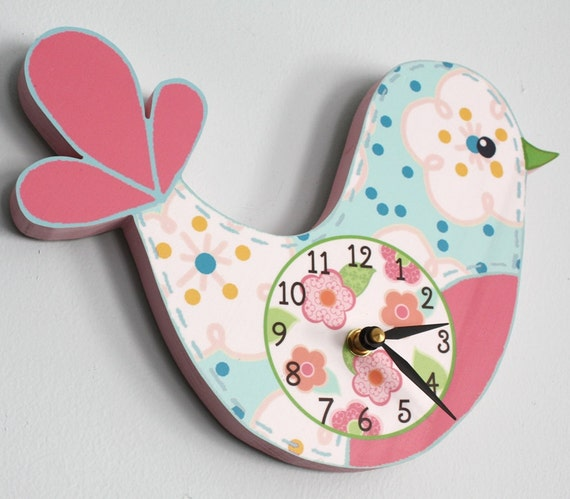 Love Bird Wooden WALL CLOCK for Girls Bedroom Baby Nursery WC0002
