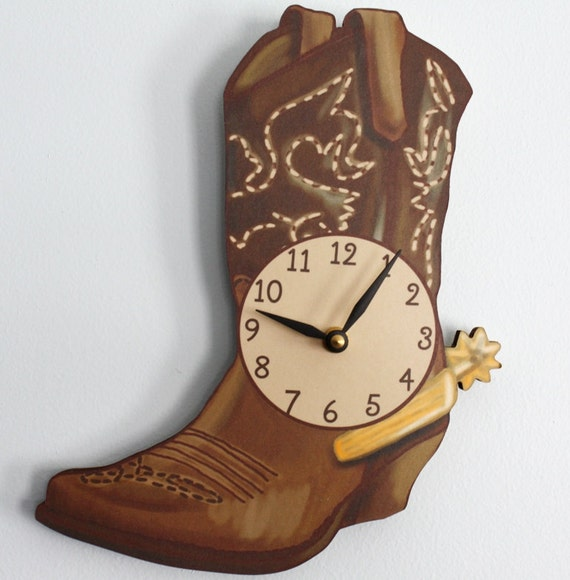 Cowboy Boot Wooden Wall Clock For Kids Bedroom Baby Nursery