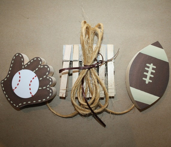 2 Boys Sports Wall ART DISPLAY CLIPS For Kids Bedroom Baby