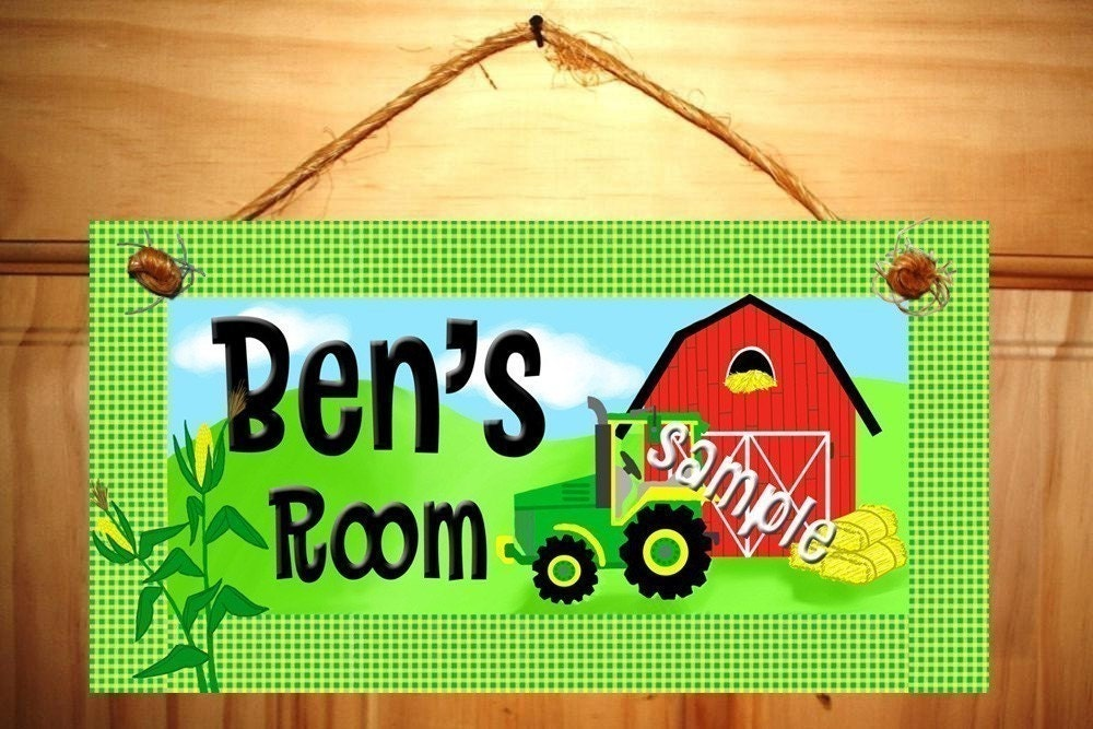 Kids Bedroom Farm Tractor Door Sign In John Deere By