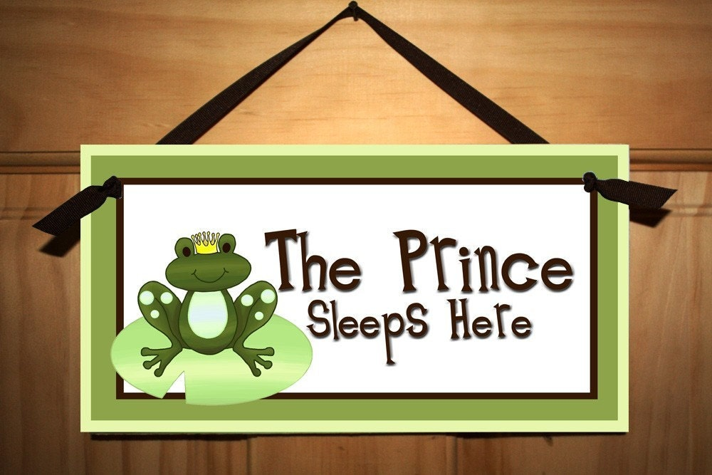 Kids Bedroom Door frog prince boys baby nursery bedroom door sign wall art decor