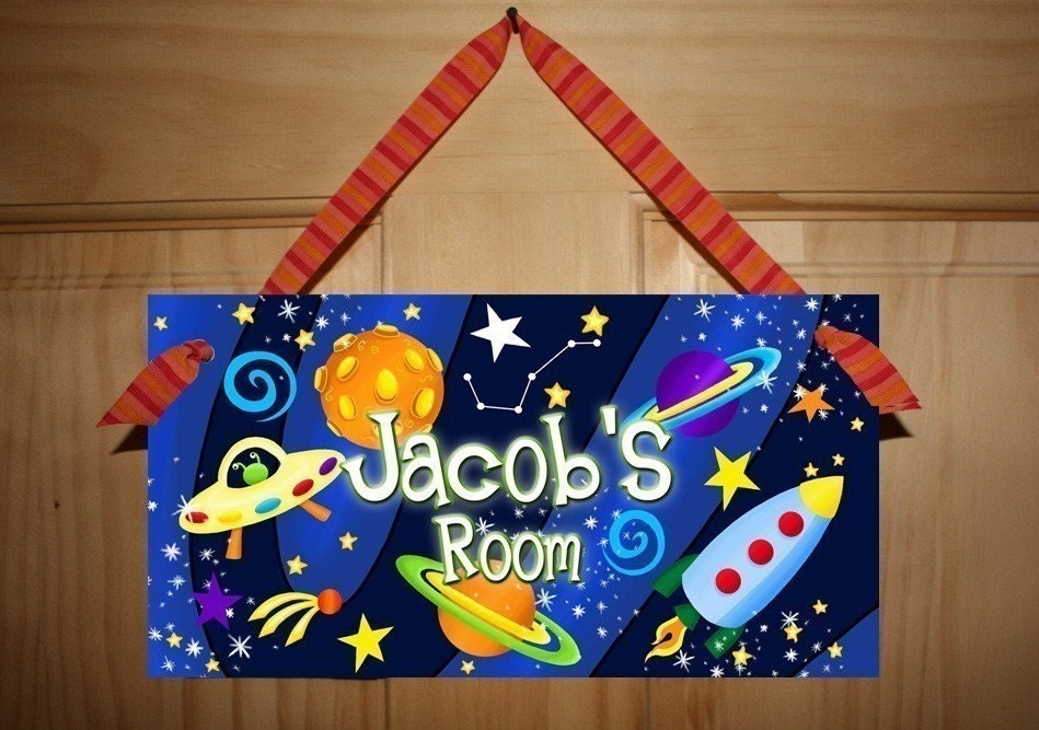 Door Sign Blast Off Boys Bedroom Outerspace Rocket By