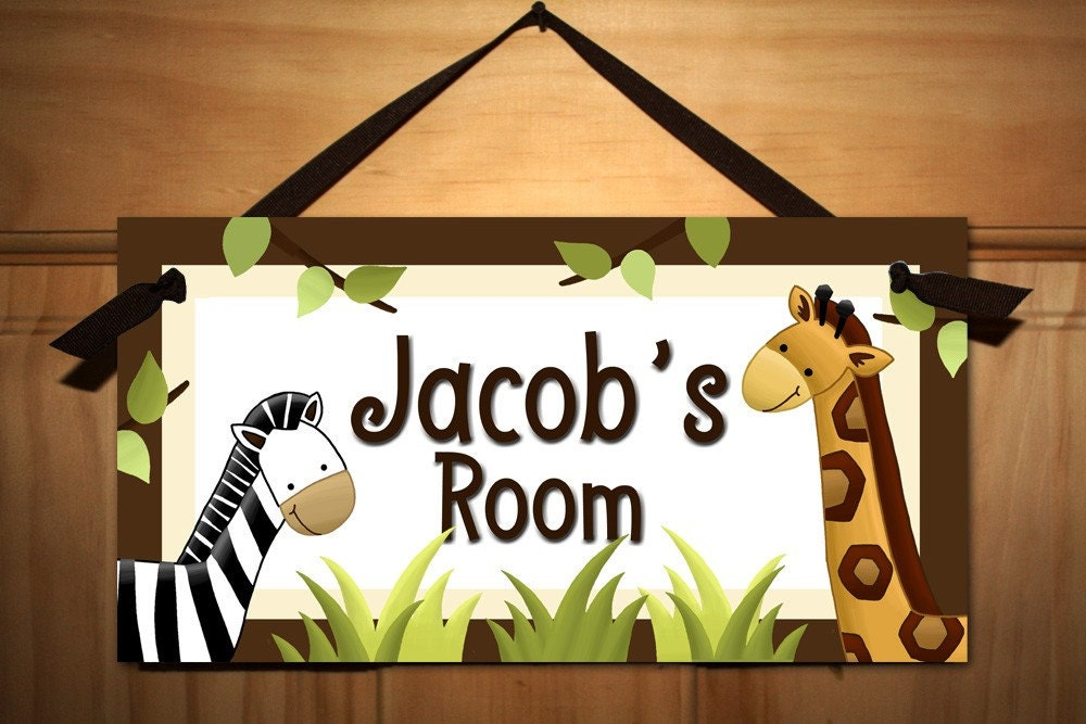 in the jungle baby nursery kids bedroom door sign wall art