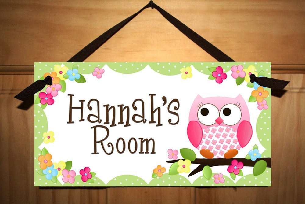Door sign owls love flowers girls bedroom and baby nursery for Door name signs