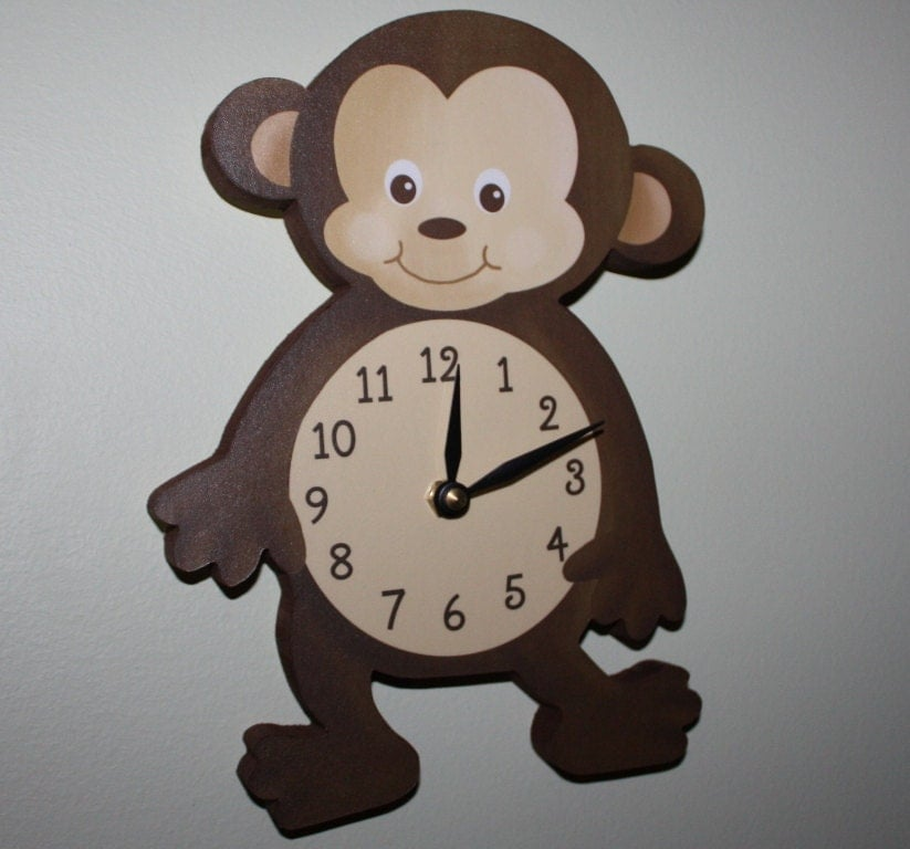 Monkey Wooden Wall Clock For Kids Bedroom Baby Nursery Wc0076