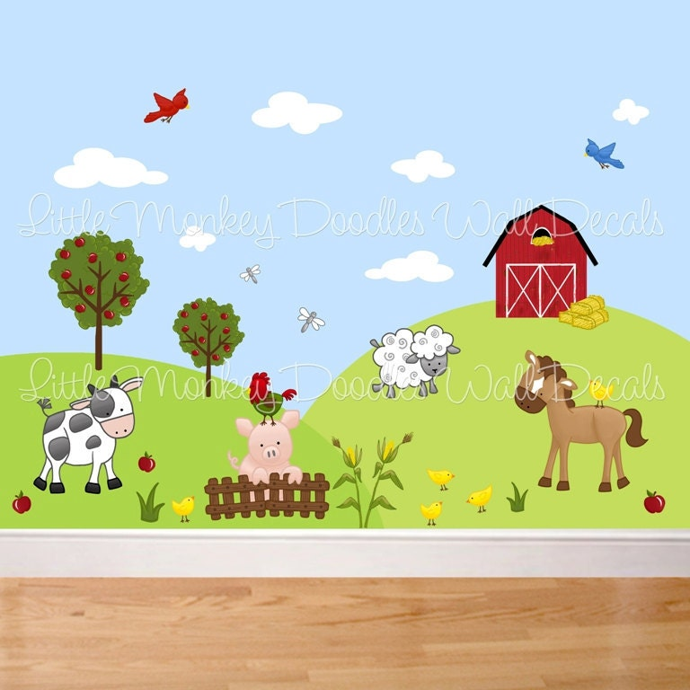 Fabric wall decals farm animal barnyard mural set girls boys for Baby nursery mural