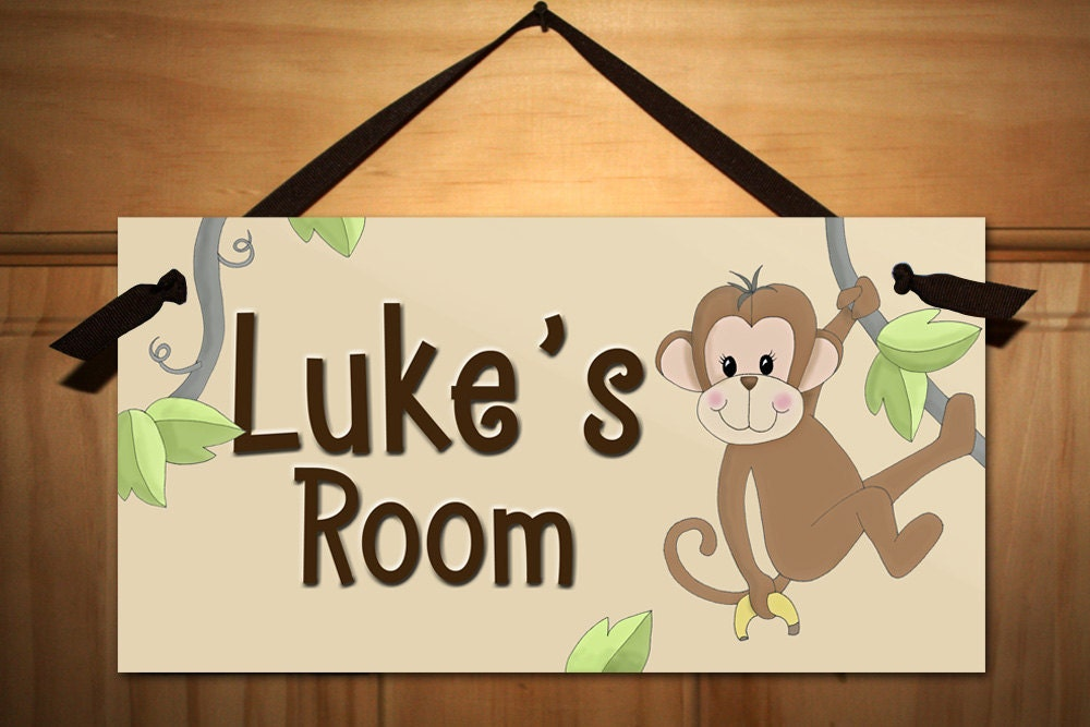 monkey kids bedroom baby nursery door sign wall art ds0053