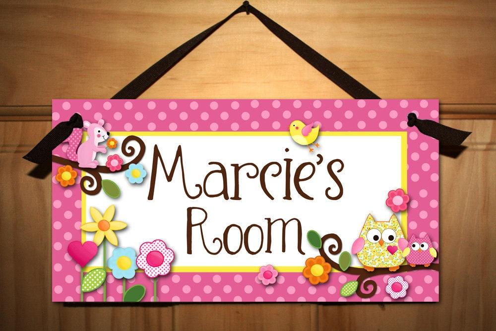 Door sign happy owls girls bedroom and baby nursery kids for Signs for kids rooms