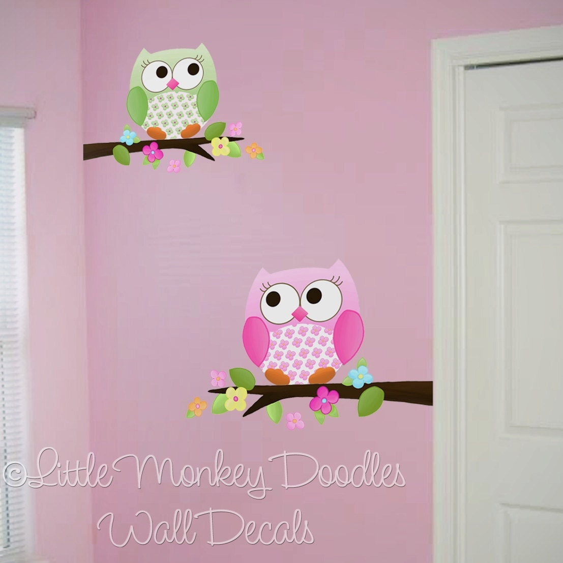 fabric wall decals owls love flowers girls nature forest. Black Bedroom Furniture Sets. Home Design Ideas