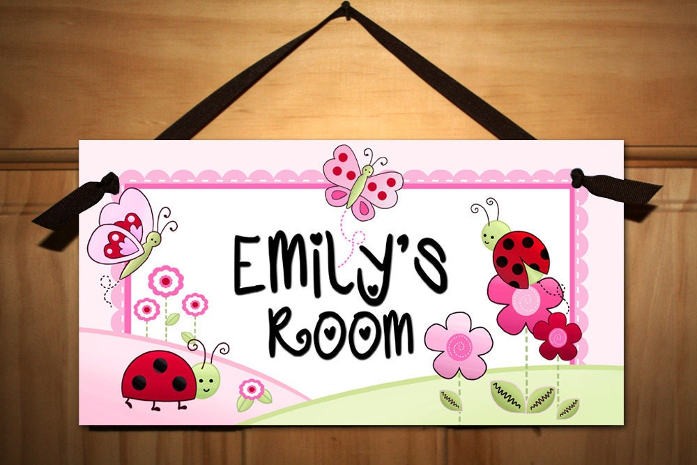 Pink Love Bugs Girls Bedroom Baby Nursery Door Sign Wall Art