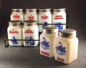 Antique Milk Glass Spice Set - 8 Spice Jars and Cast Iron Rack