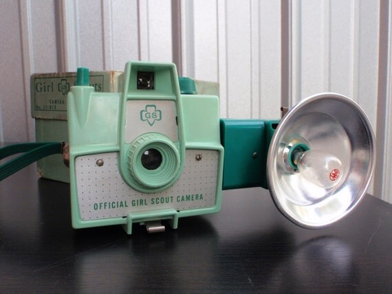 Mint Green 1957 Official Girl Scout Camera with Matching Flash