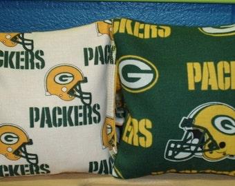 Green Bay Packers Fabric Cornhole Bags -FREE SHIPPING-  Baggo Bean Bag Set - Set of 8