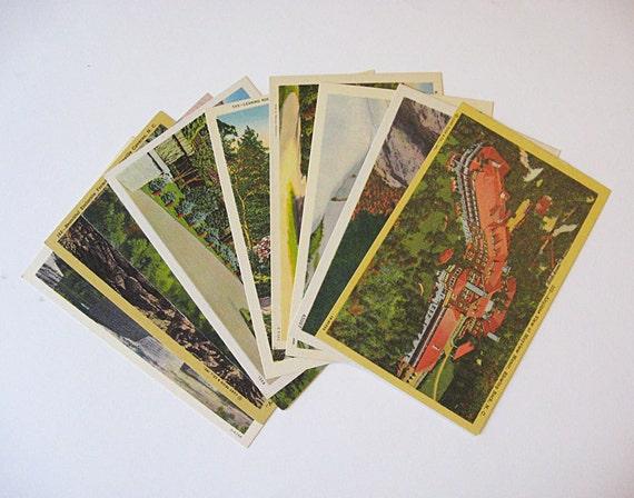 1940s Linen Postcard Lot- Blowing Rock and Linville, North Carolina-Caverns