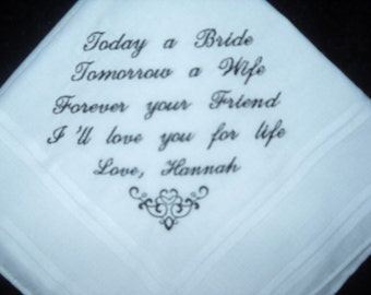 Wedding Hankie Handkerchief Poem from Bride to Groom Embroidered