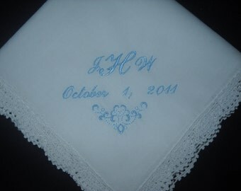 Something Blue Monogram wedding hankie handkerchief for Bride and Groom Nice gift.