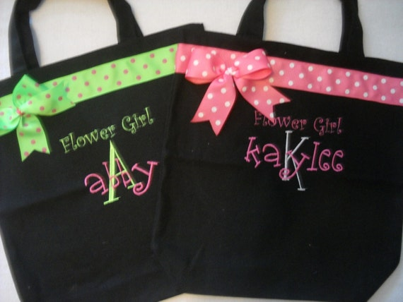 4 Flower Girls, Jr. Bridesmaids, Tote Bag Personalized with ribbon and bow