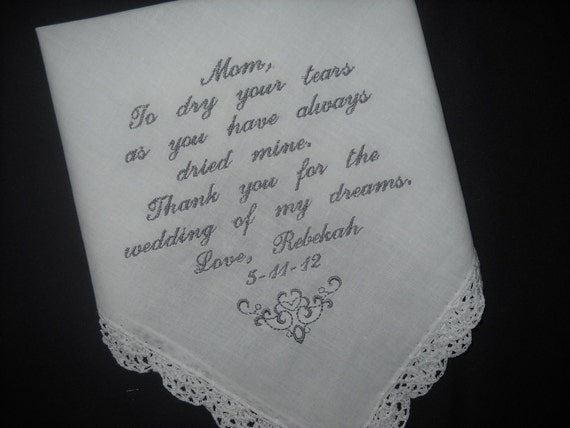 Gifts For Mothers On Wedding Day: Mother Of The Bride Poem Wedding Handkerchiefs Wedding Gift