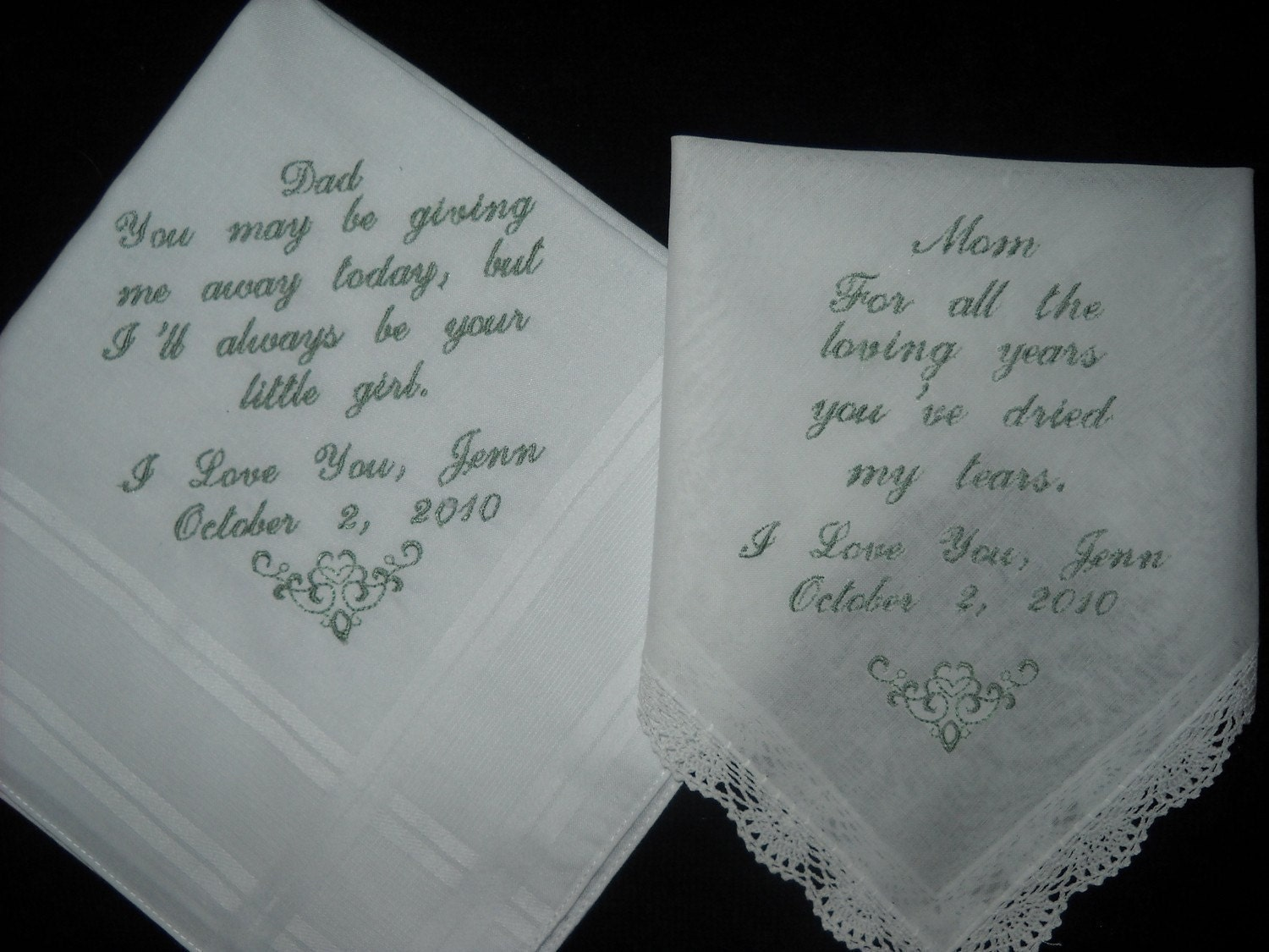 Wedding Handkerchiefs For The Family: 2 Wedding Handkerchief For Parents Of The Bride Or Groom Poems