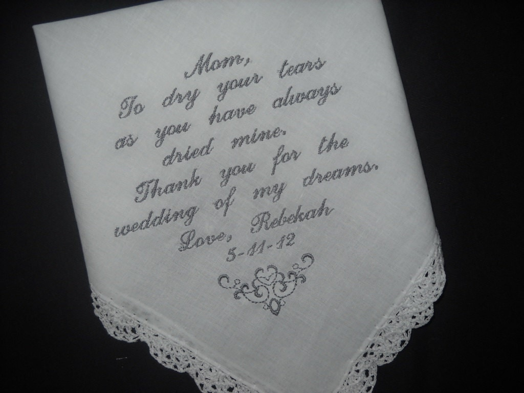 Wedding Gift Ideas For Mom: Mother Of The Bride Poem Wedding Handkerchiefs Wedding Gift