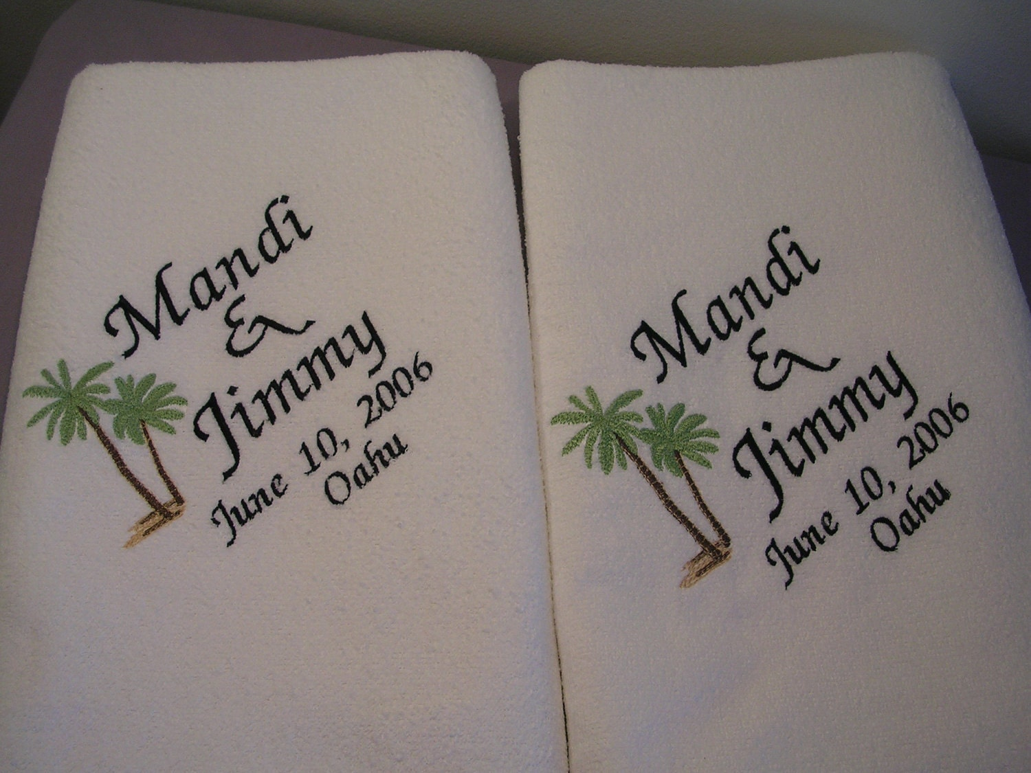 Handmade Wedding Gifts For Bride And Groom: 2 Wedding BeachTowels For Bride And Groom Towels Wedding Gift
