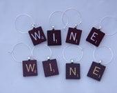 Scrabble Tile Wine Charms WINE