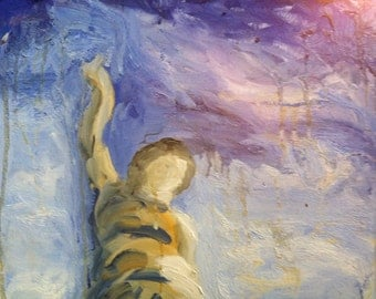 Original oil painting religious spiritual cemetery statue titled 'From Above' by artist Jean Macaluso