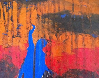 Original Oil Painting cemetery abstract 'Stormy Day' Oil on board painting by Jean Macaluso