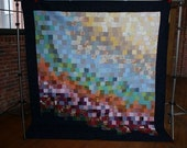 Recycled and Repurposed Vintage Fabric Quilt, Throw or Wall Hanging by Mamaka Mills- One of a kind Two Sided Quilt