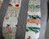 Vintage Recycled Fabric Baby Quilt UniSex Grey Very Cool Fabrics Great Baby Shower Gift