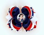 Snow White  Bottle Cap Layered Boutique Hairbow - Perfect accessory for a princess Halloween costume