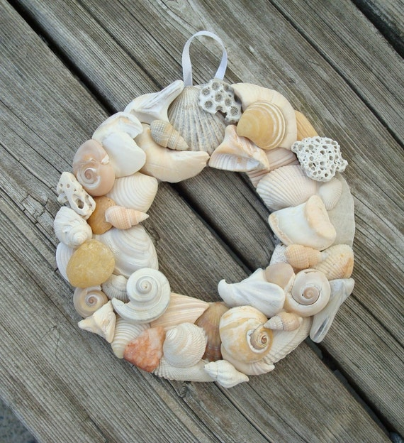 Shell Wreath - 4 1/4 inch - Natural Shell Wreath - Beach Home Decor - Shell Wall Hanging