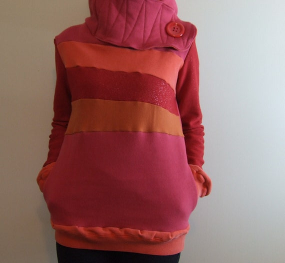 CAYENNE PEPPER - Hoodie Sweatshirt Sweater - Recycled Upcycled - One of a Kind Women - Small/Medium