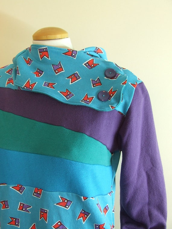 AMUSEMENT PARK - Hoodie Sweatshirt Sweater - Recycled Upcycled - One of a Kind Women - MEDIUM